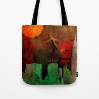 takmaj Tote Bags featuring Jump on the green city by Joe Ganech