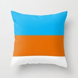 Square Tri-Color [Blue, Orange, White] Throw Pillow