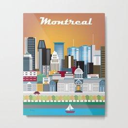 Montreal, Quebec, Canada - Skyline Illustration by Loose Petals Metal Print