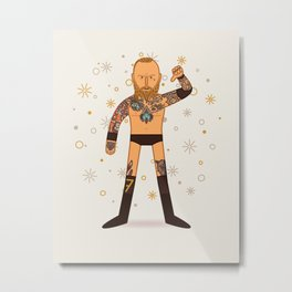 Black Mass (Wrestler Illustration) Metal Print