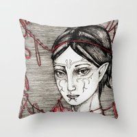 dragon ball Throw Pillows featuring Merrill: ball of twine  by Anca Chelaru