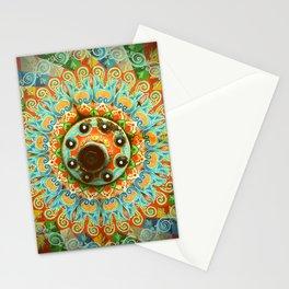 Rainbow Painted Cart Wheel Mandala Stationery Cards