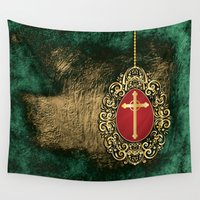 pagan Wall Tapestries featuring Beautiful red egg with gold cross on a moody green and gold texture by Wendy Townrow