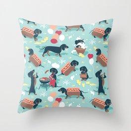 Hot dogs and lemonade // aqua background navy dachshunds Throw Pillow