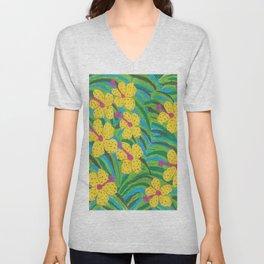 Sunshine Tropical Hibiscus Print Unisex V-Neck