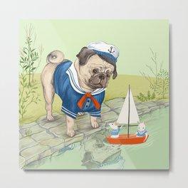 sailor pug Metal Print