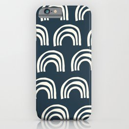 Abstract Boho Rainbow Pattern in Navy Blue and Cream iPhone Case