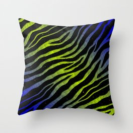 Ripped SpaceTime Stripes - Blue/Lime Throw Pillow