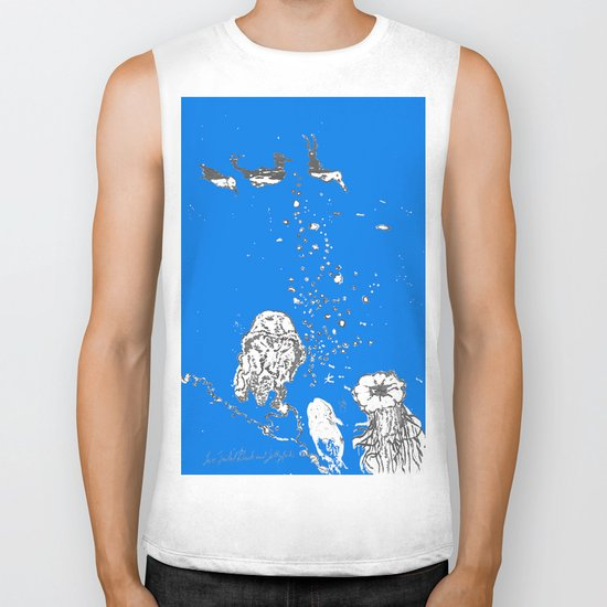 Two Tailed Duck and Jellyfish Royal Brilliant Blue Biker Tank