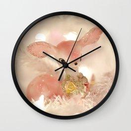 Pink Christmas Retro Deer White Lights Tree Wall Clock