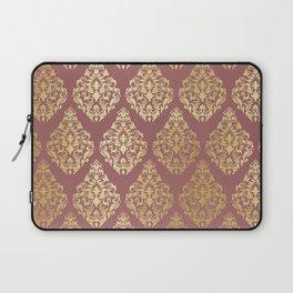 Burgundy rose gold elegant damasque Laptop Sleeve