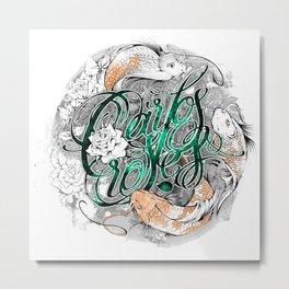 Carps and roses Metal Print