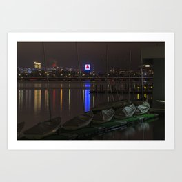 Citgo Sign through the boats on the Charles River Boston MA Massachusetts Art Print