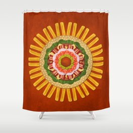 Bacon Cheeseburger with Fries Mandala Shower Curtain