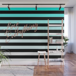 Love is Everything Blue Wall Mural