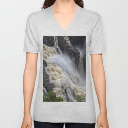 Raging thunder of the waterfall Unisex V-Neck