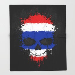Flag of Thailand on a Chaotic Splatter Skull Throw Blanket