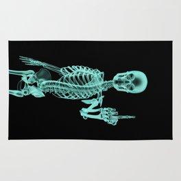 X-ray Bird / X-rayed skeleton demonstrating international hand gesture Rug
