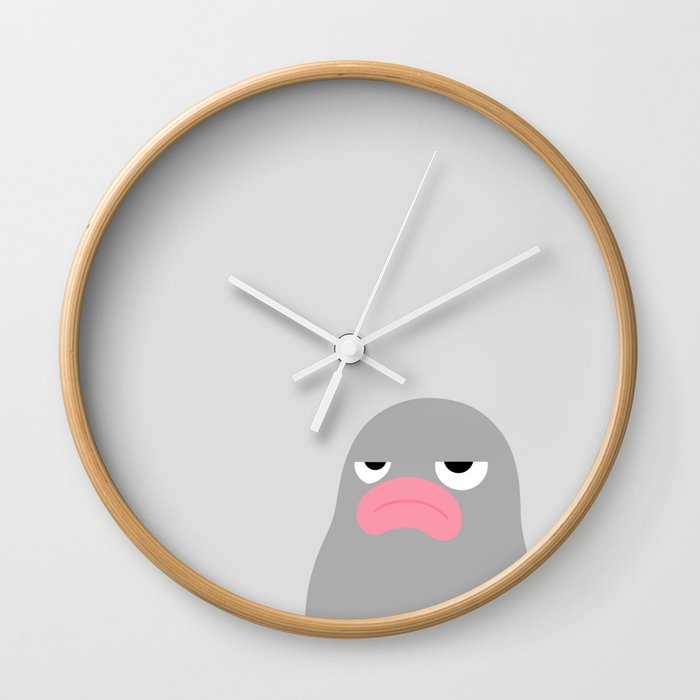 Annoyed Lars Minimal Grey Wall Clock