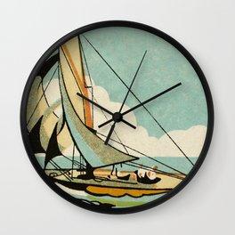 Vintage Japanese Sailboat Wall Clock