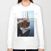 oslo Long Sleeve T-shirts featuring Classic Boats In Oslo by Malcolm Snook