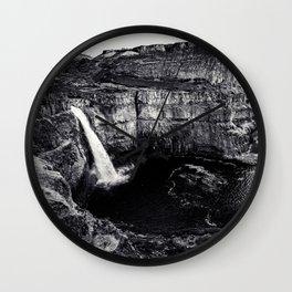 Hidden Waterfall Black and White Wall Clock