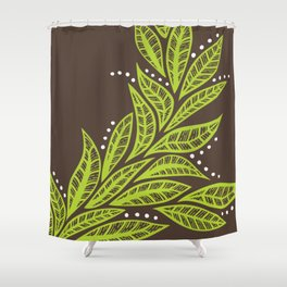 Floral tropical green leaves on brown background Shower Curtain