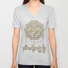 Golden Mani Mantra With Mandala Unisex V-Neck