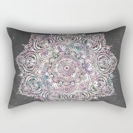 Dreaming Mandala - Magical Purple on Gray Rectangular Pillow