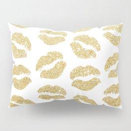 Gold Glitter Lips Pillow Sham