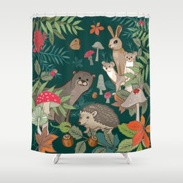 Animals In The Woods Shower Curtain