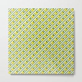 Fruit Neck Gator Green Stripe Pineapples Metal Print
