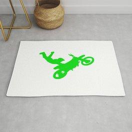 Motocross Stunt Jump Grab Silhouette Green Rug