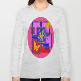 Red-Blue-Pink Art Deco Butterfly Abstract Long Sleeve T-shirt