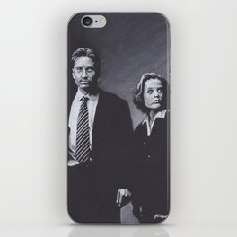 Original Charcoal Drawing of Dana Scully and Fox Mulder iPhone Skin