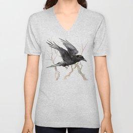 Flying Raven Art, raven crow tribal design Unisex V-Neck