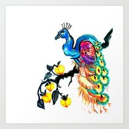 Peacock in a Peach Tree Art Print