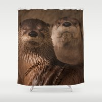 otters Shower Curtains featuring River Otters by Joshua Arlington