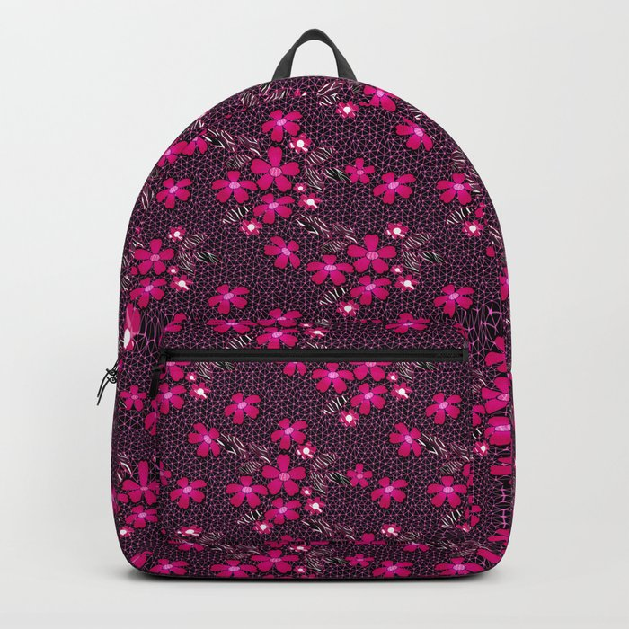 The floral pattern on the grid . Black and crimson pattern . Backpack