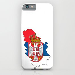 Serbia Map with Serbian Flag iPhone Case