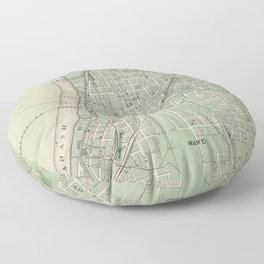 Vintage Map of Lafayette Indiana (1876) Floor Pillow