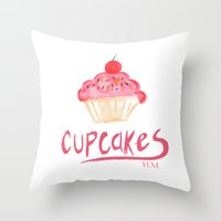 cupcakes Throw Pillows featuring CUPCAKES by Lauren Lee Design's