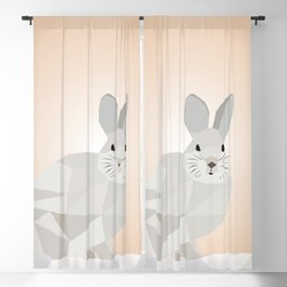Cute Rabbit Low Poly Art Blackout Curtain