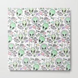 Alien and UFO pattern Metal Print