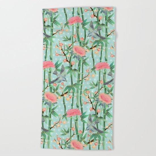 Bamboo, Birds and Blossom - soft blue green Beach Towel
