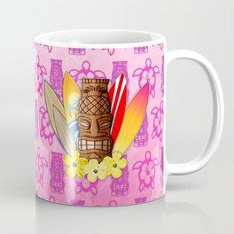 Surfboards And Tiki Mask Pink Tiki Coffee Mug