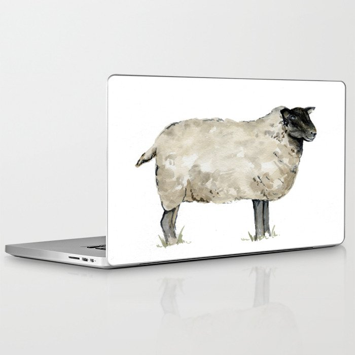 Sheep Farmhouse Watercolor Rustic Painting Laptop Ipad Skin By