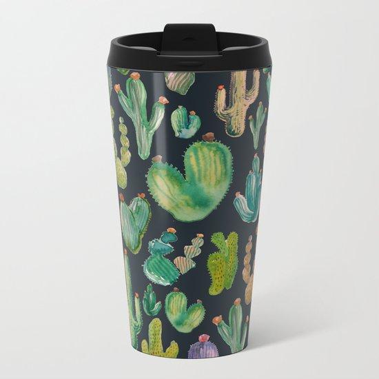 Cactus Watercolor at Night Metal Travel Mug