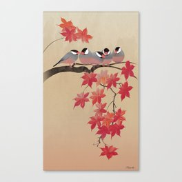 Java Sparrows in Japanese Maple Tree Canvas Print