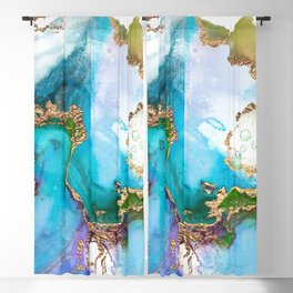 Abstract Marble Mermaid Gemstone With Gold Glitter Blackout Curtain
